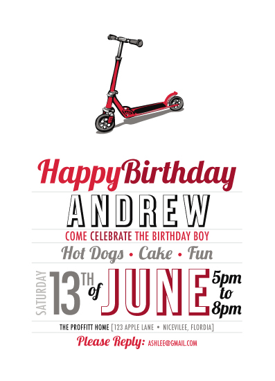 Printable Party Invitation // Scooter Party by AshleeProffitt