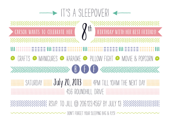 party invitations - BFF Sleepover by Molly Leonard