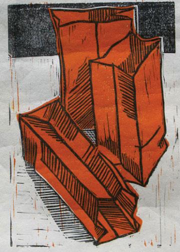 art prints - 3 Red Bags by jack jones