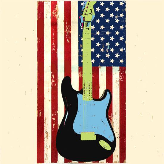art prints - American Flag Guitar by Eileen Tomson
