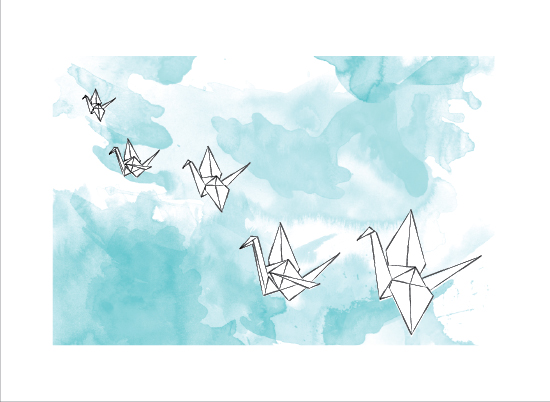 art prints - Flying Paper Cranes by Little Bird Paperie