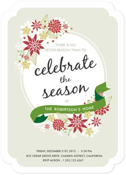 Poinsettia Holiday Party Invitations