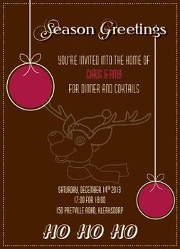 Reindeer Party Invitations