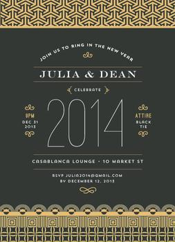 Deco inspired new year Party Invitations