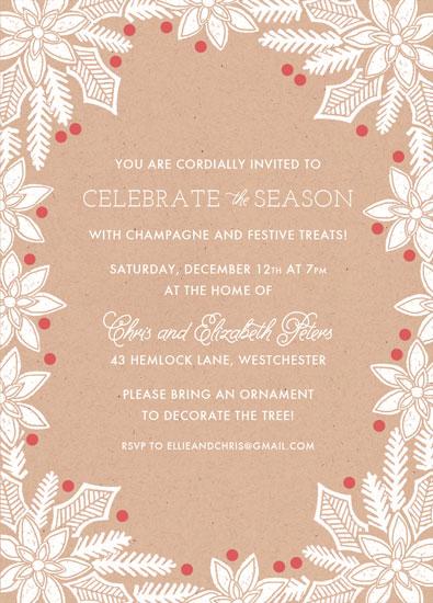 party invitations - Block Printed Berries by Katharine Watson