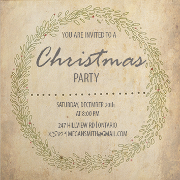 party invitations - Wreath design by Stephjwest
