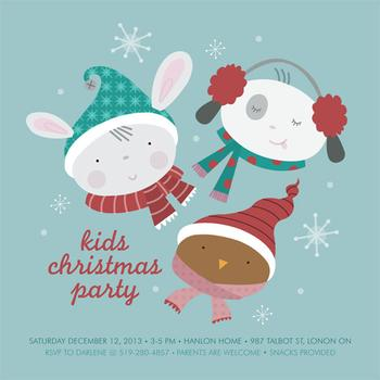 Winter Animals Party Invitations