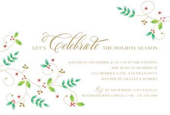 Organic Holly Party Invitations