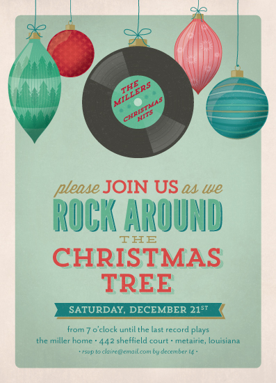 party invitations - A Rockin Christmas