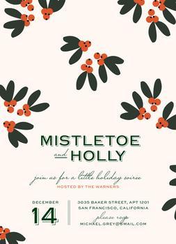 Mistletoe + Holly Party Invitations