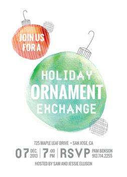 Watercolor Ornaments Party Invitations
