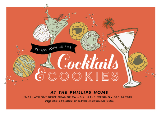 party invitations - Cocktails & Cookies by Shiny Penny Studio