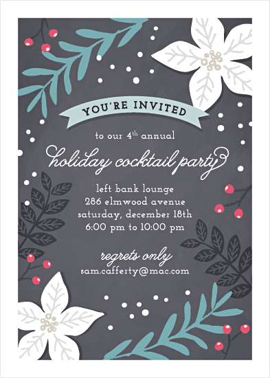 Modern Botanicals holiday party invitation