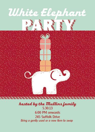 party invitations - White Elelphant by Jana J