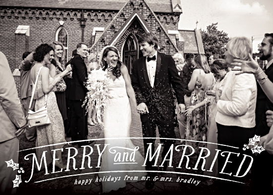 holiday photo cards - Merry and Married
