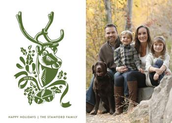 Reindeer Woodcut Holiday Photo Cards