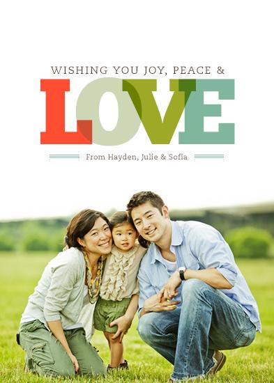 holiday photo cards - Joy, Peace & Love by Morgan Newnham
