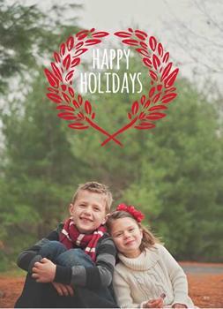 Happy Holidays Wreath Holiday Photo Cards