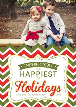 Chevron Happiest Holiday Holiday Photo Cards