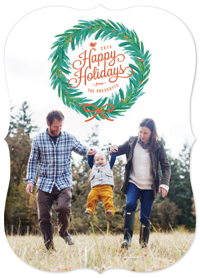holiday photo cards - Painted Wreath
