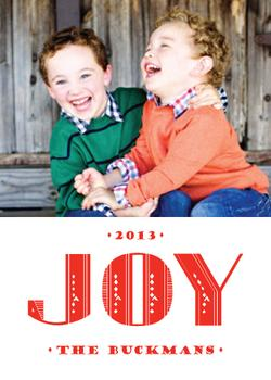 Joy Art Deco Type Holiday Photo Cards