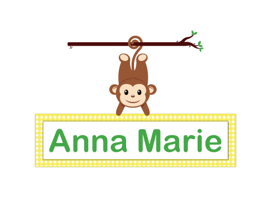 art prints - Monkey Name Plate by Leslie