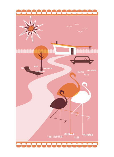 art prints - Funky Flamingos by Three Kisses Studio