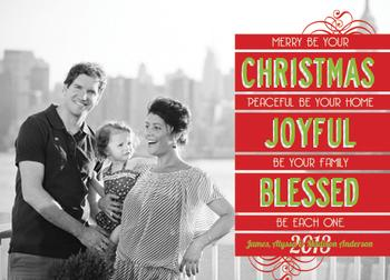 Merry, Joyful & Blessed Holiday Photo Cards