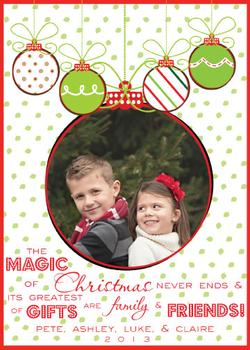 Ornamental Magic of Christmas Holiday Photo Cards