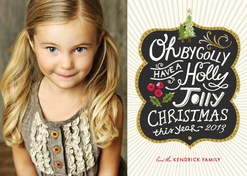 holiday photo cards - Holly Jolly Wishes by Griffinbell Paper Co.