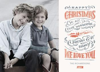 Hand Lettered Christmas Landscape Holiday Photo Cards