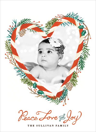 holiday photo cards - Candy Cane Heart