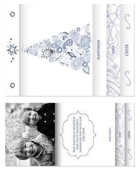 paisley blue tree Minibook Cards