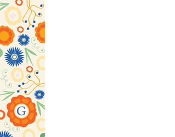 Blue Orange Floral Pary Personal Stationery