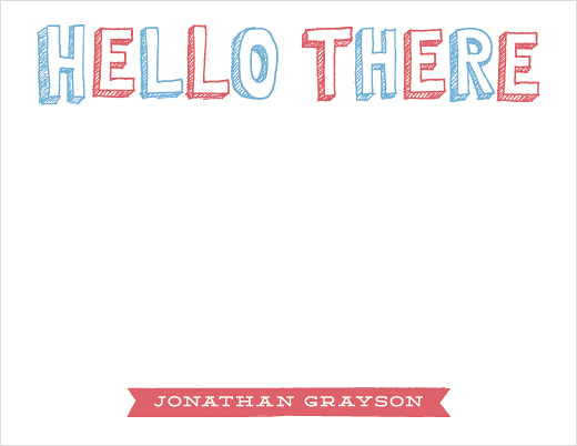 personal stationery - Handdrawn Hello
