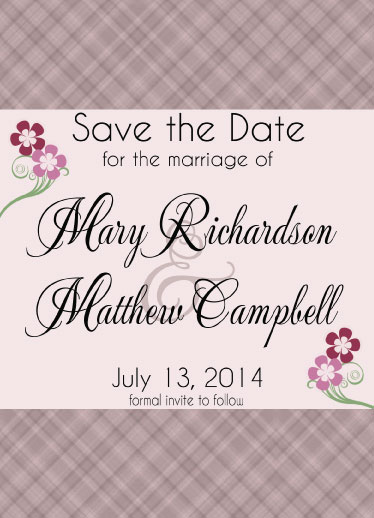 save the date cards - Soft Plaid by Cindy Jost