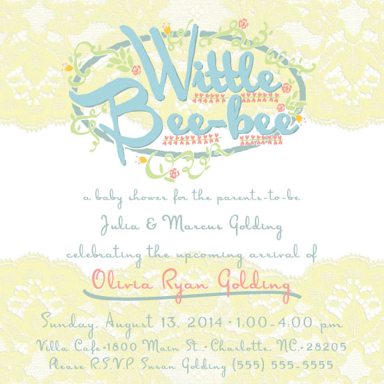 baby shower invitations - Wittle Bee-bee by Lindsay Hanson