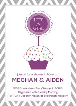 Cupcake Topper Baby Shower Invitations