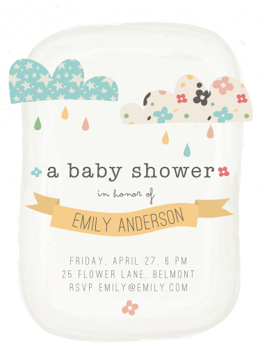 baby shower invitations funky clouds at
