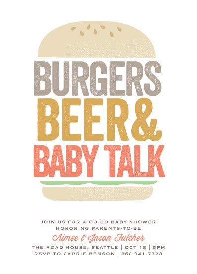 baby shower invitations - Big Burger at Minted.com