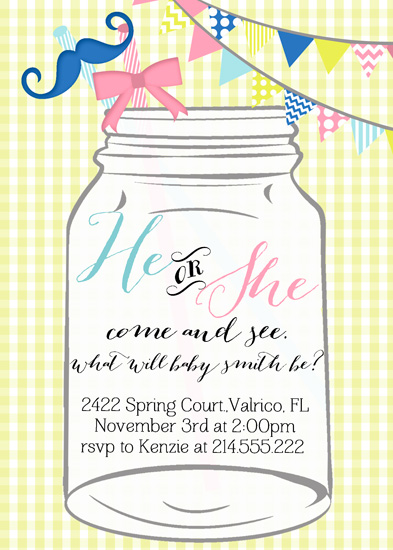 baby shower invitations mason jar gender reveal by kj paperie