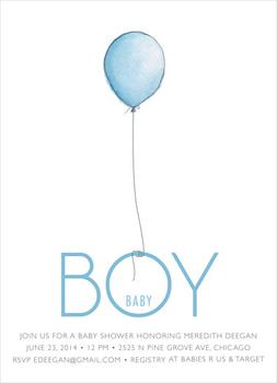 Boy Balloon Baby Shower Invitations