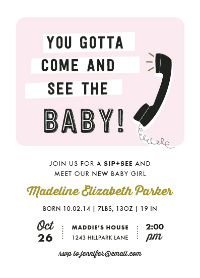 baby shower invitations - come and see by Rebecca Bowen