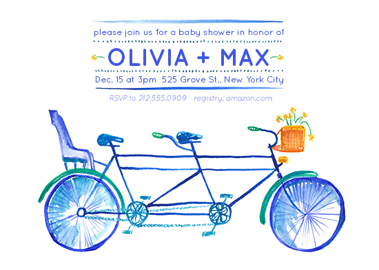 baby shower invitations - Bicycle Built for 3 by erin gleeson