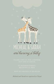 Giraffe Couples Love Baby Shower Invitations