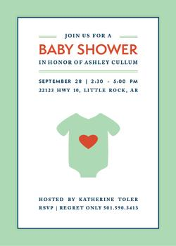 Heart Onesie Baby Shower Invitations