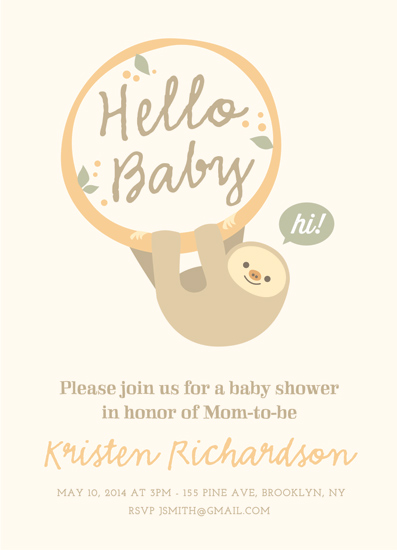 baby shower invitations baby sloth by chryssi tsoupanarias