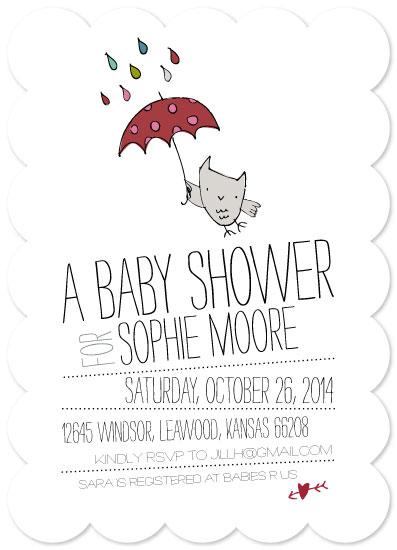baby shower invitations umbrella owl by jill halksworth