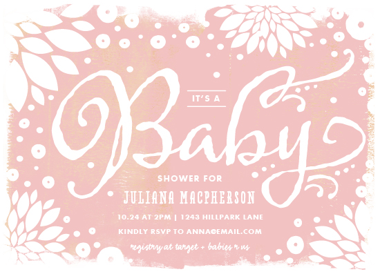 baby shower invitations - floral canvas by Rebecca Bowen
