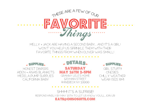 baby shower invitations - Favorite Things by Kate Capone aka Oh So Suite